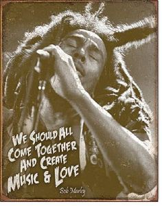 Bob Marley Music And Love steel sign (de)